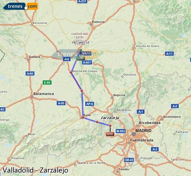 Enlarge map Trains Valladolid to Zarzalejo