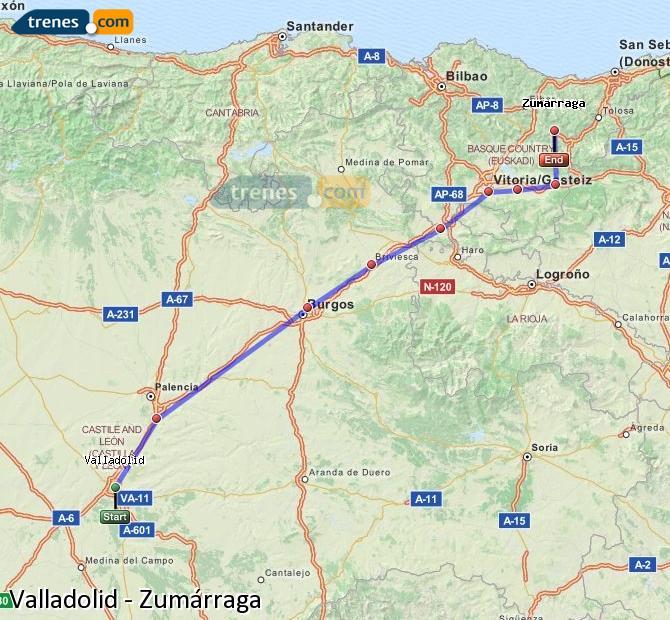 Karte vergrößern Züge Valladolid Zumárraga