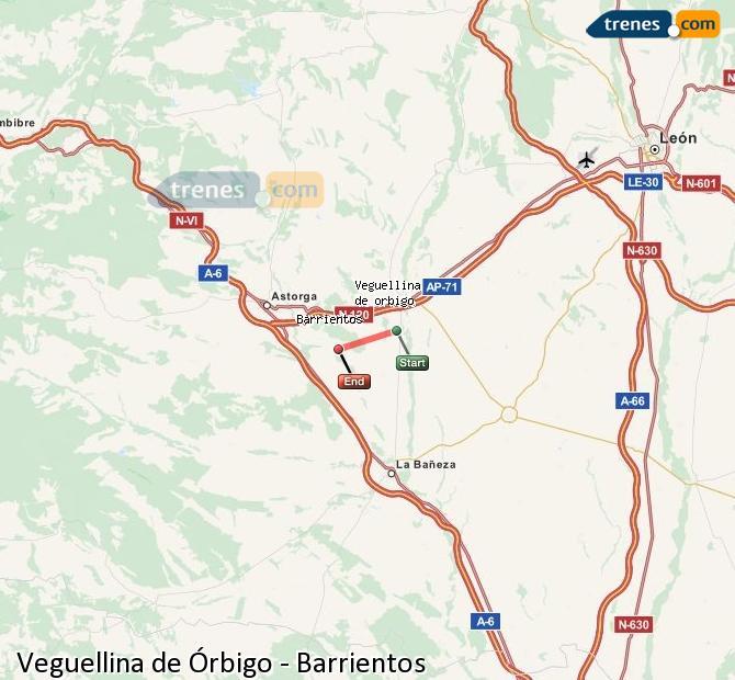 Ampliar mapa Trenes Veguellina de Órbigo Barrientos