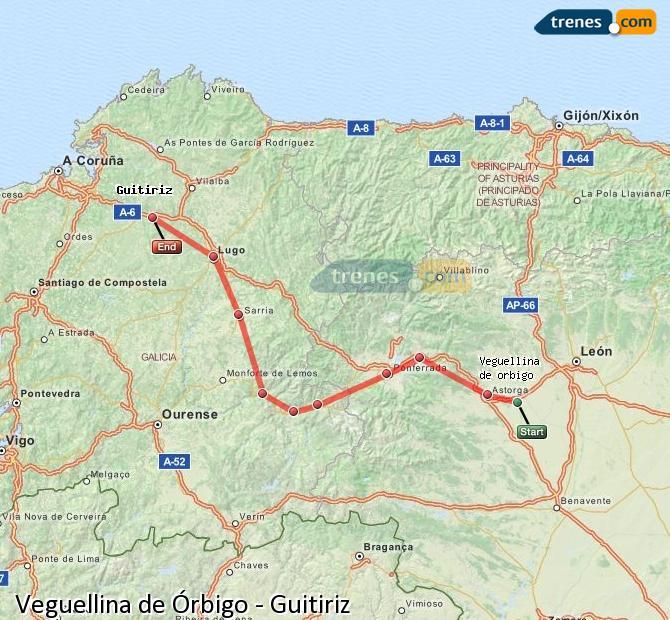 Ingrandisci la mappa Treni Veguellina de Órbigo Guitiriz