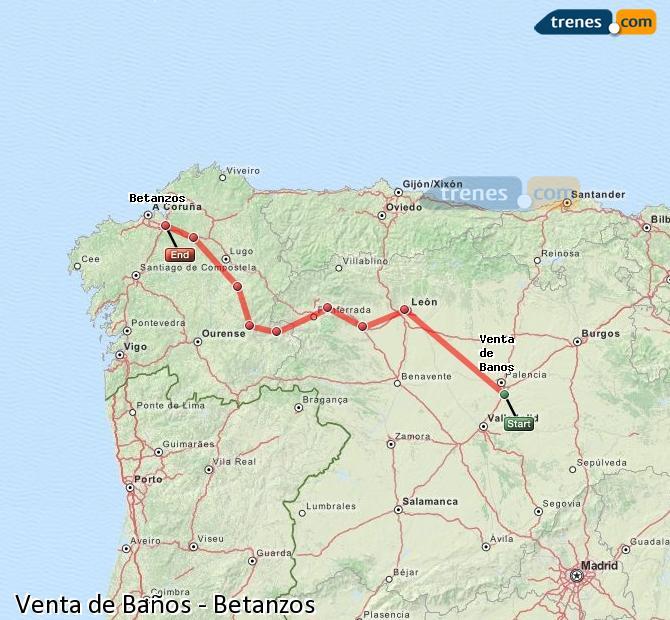 Karte vergrößern Züge Venta de Baños Betanzos