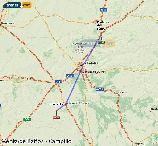 Ingrandisci la mappa Treni Venta de Baños Campillo