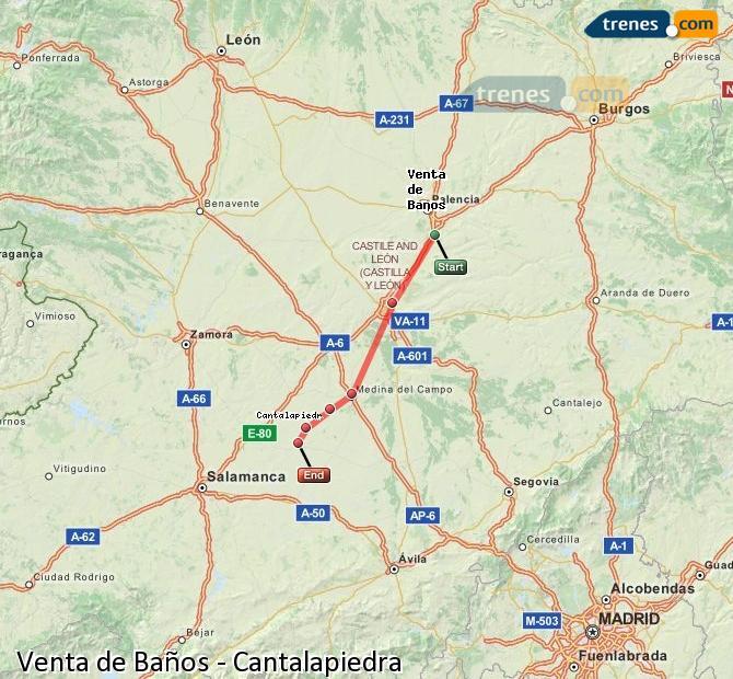 Agrandir la carte Trains Venta de Baños Cantalapiedra
