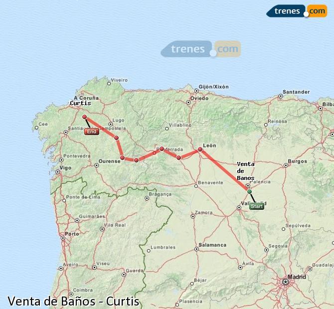 Ampliar mapa Comboios Venta de Baños Curtis