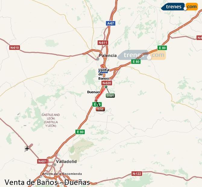 Karte vergrößern Züge Venta de Baños Dueñas