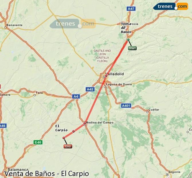 Ampliar mapa Trenes Venta de Baños El Carpio