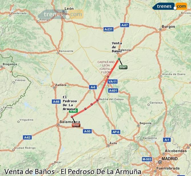 Enlarge map Trains Venta de Baños to El Pedroso De La Armuña