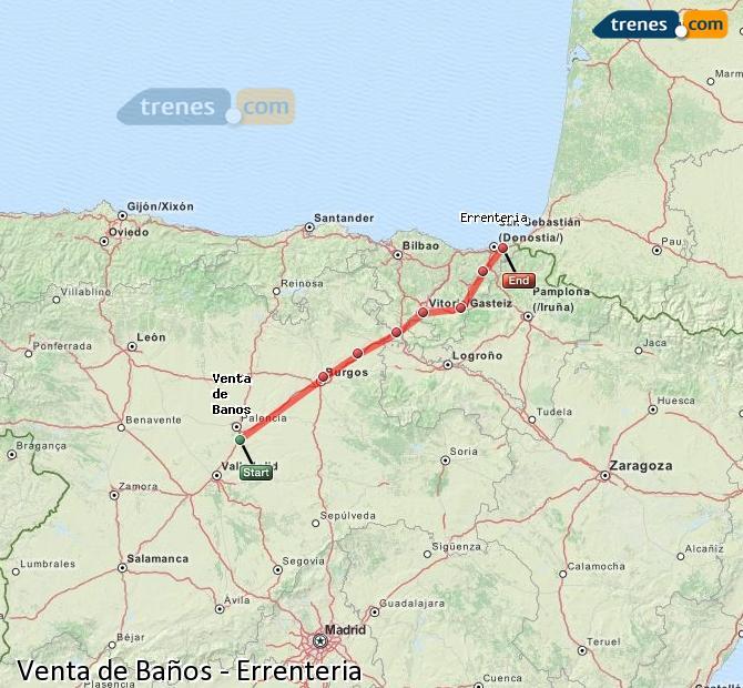 Karte vergrößern Züge Venta de Baños Errenteria