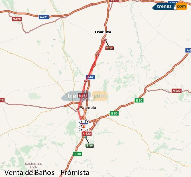 Ampliar mapa Trenes Venta de Baños Frómista