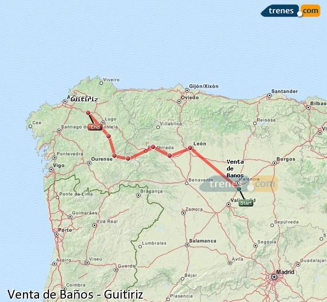 Ingrandisci la mappa Treni Venta de Baños Guitiriz