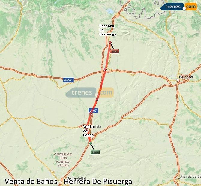 Enlarge map Trains Venta de Baños to Herrera De Pisuerga