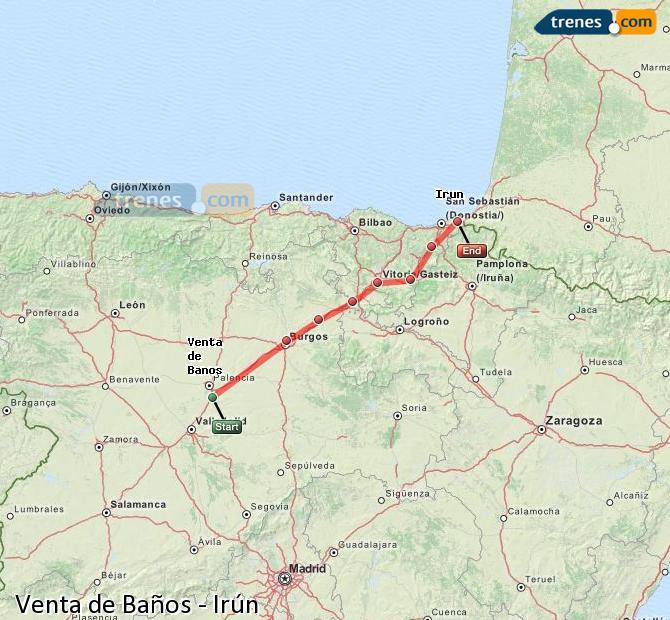 Enlarge map Trains Venta de Baños to Irun