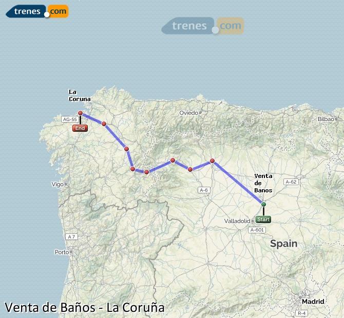 Ampliar mapa Comboios Venta de Baños La Coruña
