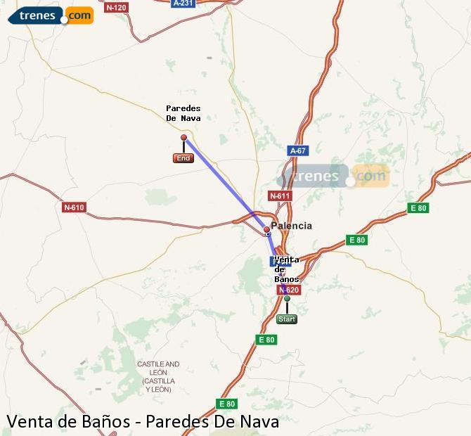 Karte vergrößern Züge Venta de Baños Paredes De Nava