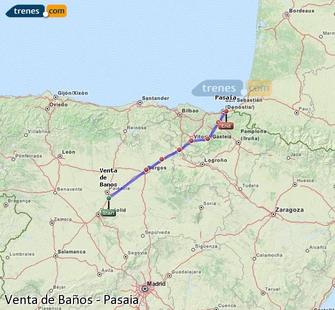 Ingrandisci la mappa Treni Venta de Baños Pasaia