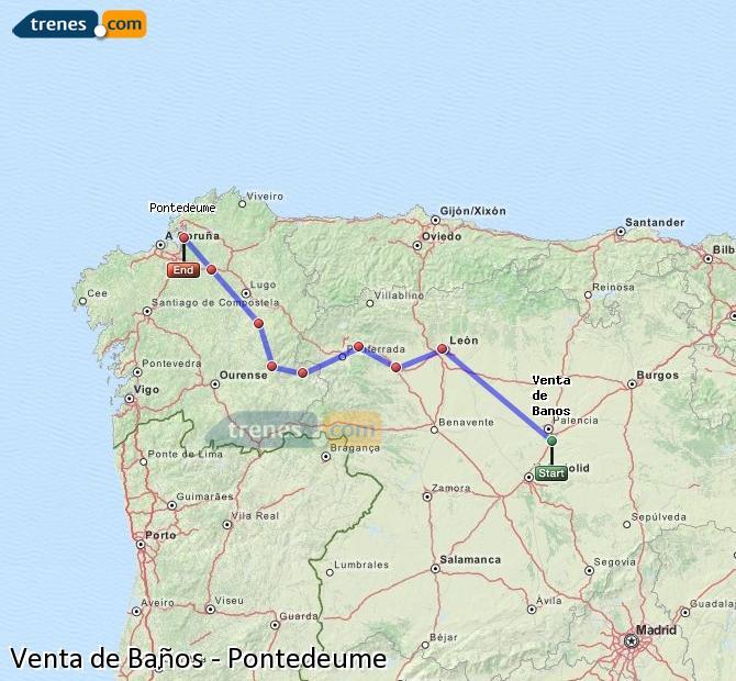 Agrandir la carte Trains Venta de Baños Pontedeume