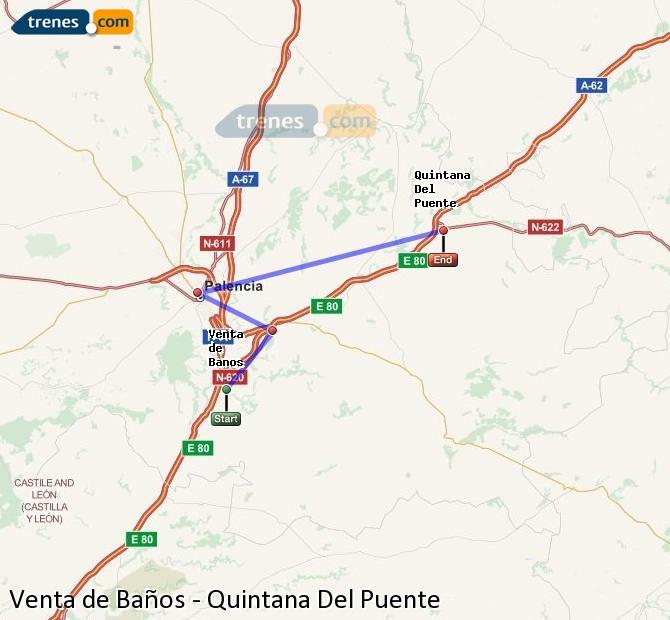 Enlarge map Trains Venta de Baños to Quintana Del Puente