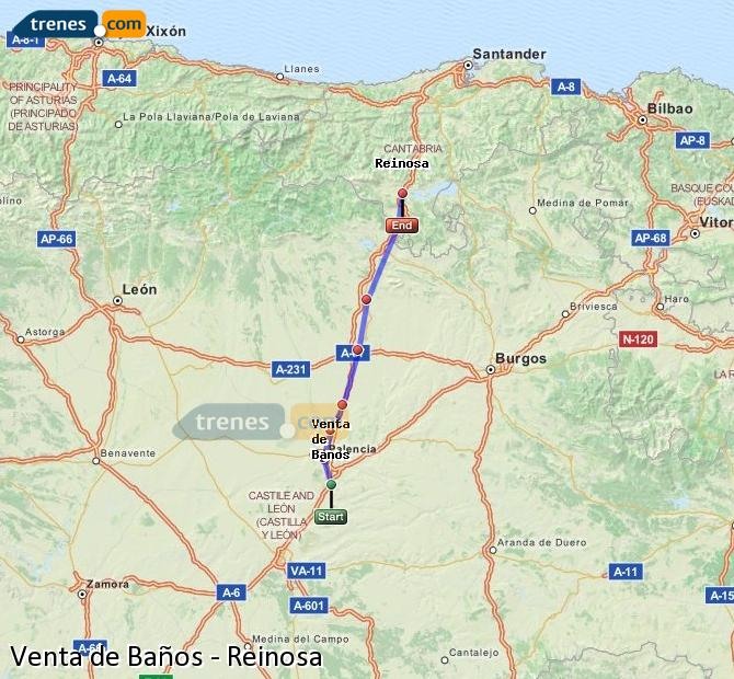 Enlarge map Trains Venta de Baños to Reinosa
