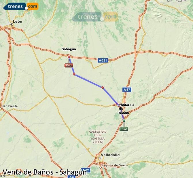 Ingrandisci la mappa Treni Venta de Baños Sahagún