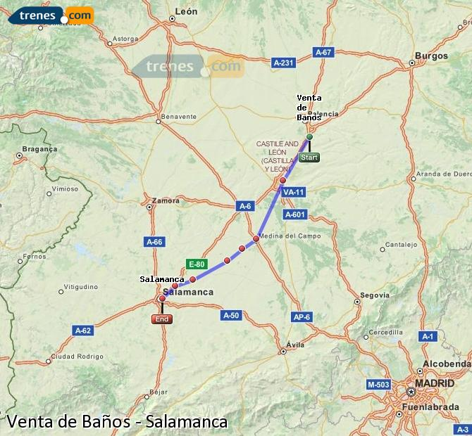 Enlarge map Trains Venta de Baños to Salamanca