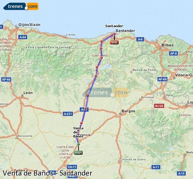 Enlarge map Trains Venta de Baños to Santander