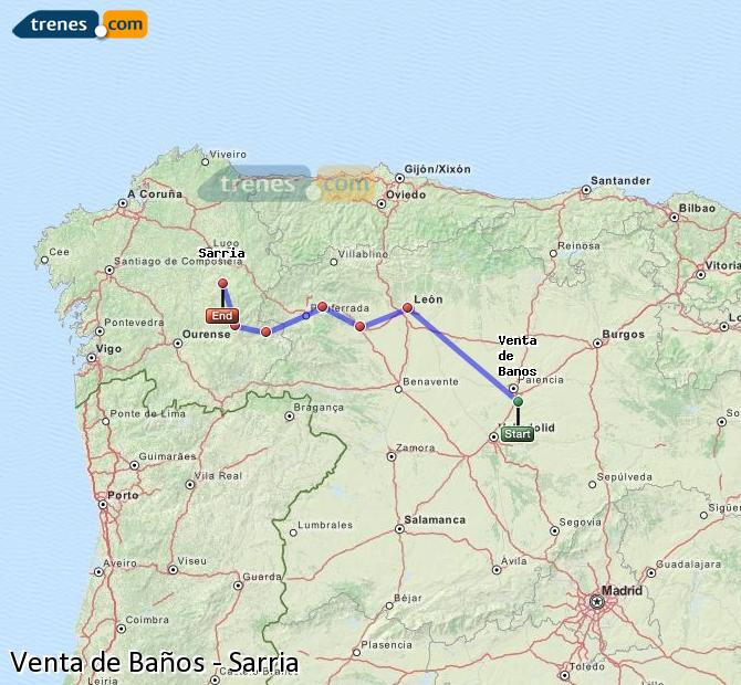 Karte vergrößern Züge Venta de Baños Sarria