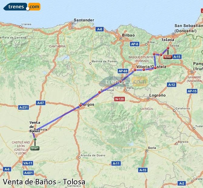 Ampliar mapa Comboios Venta de Baños Tolosa