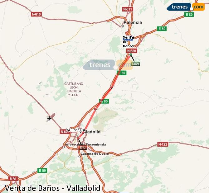 Agrandir la carte Trains Venta de Baños Valladolid
