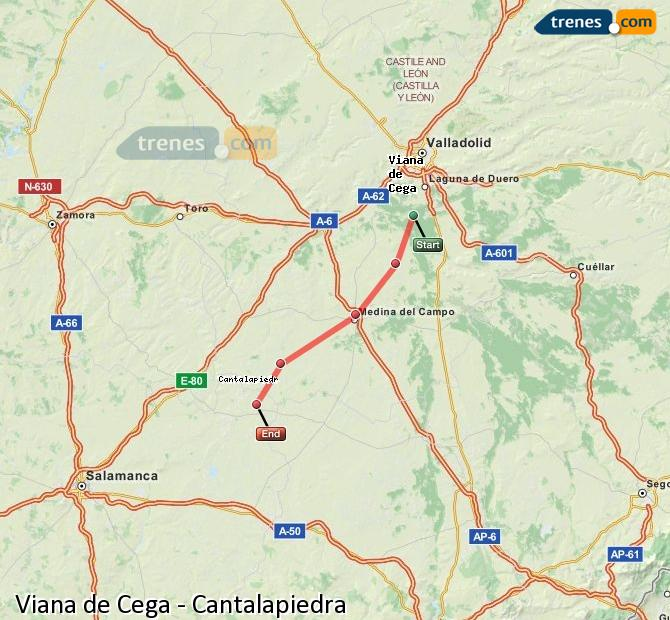 Enlarge map Trains Viana de Cega to Cantalapiedra