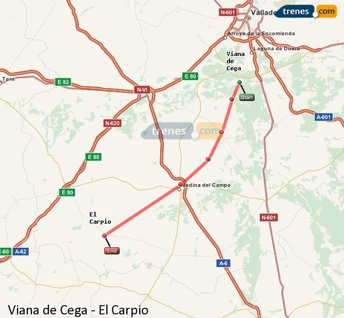 Enlarge map Trains Viana de Cega to El Carpio