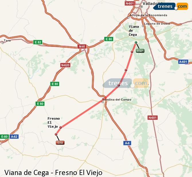 Enlarge map Trains Viana de Cega to Fresno El Viejo