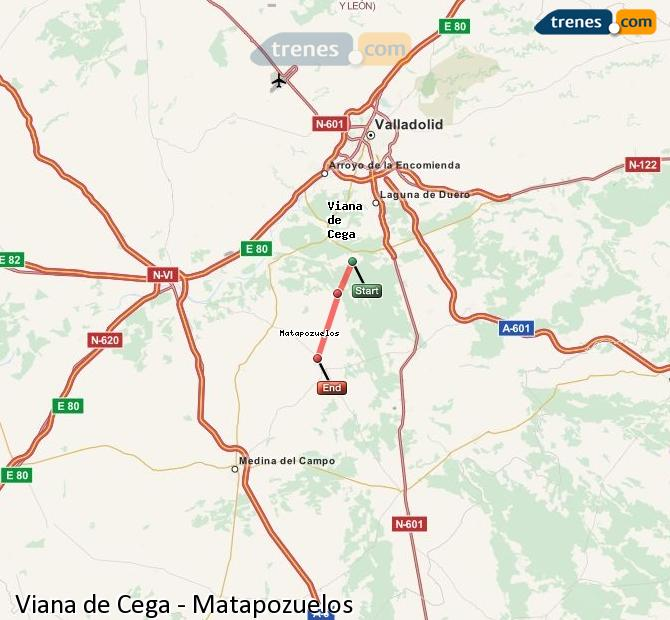 Agrandir la carte Trains Viana de Cega Matapozuelos