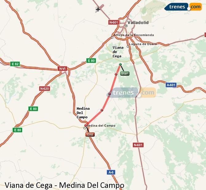Karte vergrößern Züge Viana de Cega Medina Del Campo