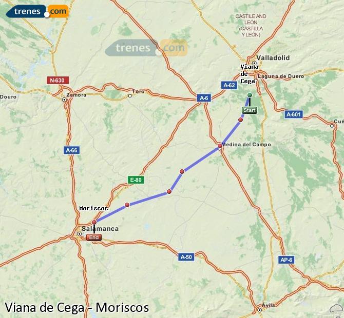 Ingrandisci la mappa Treni Viana de Cega Moriscos
