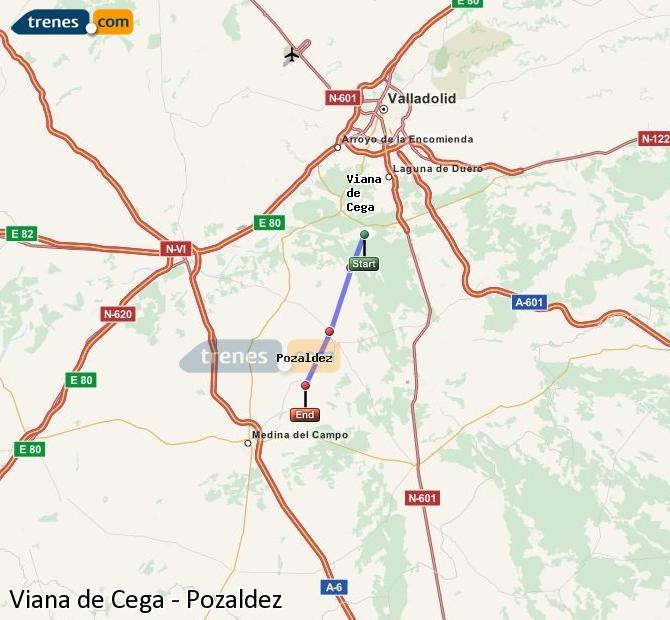 Enlarge map Trains Viana de Cega to Pozaldez