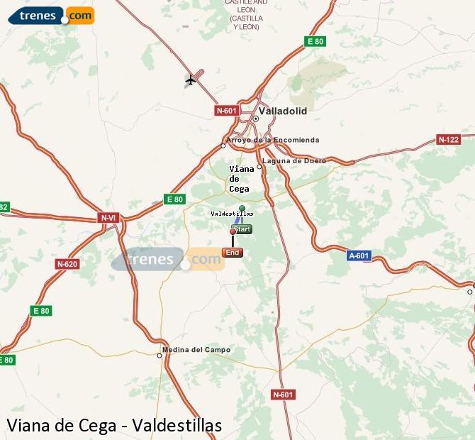 Enlarge map Trains Viana de Cega to Valdestillas