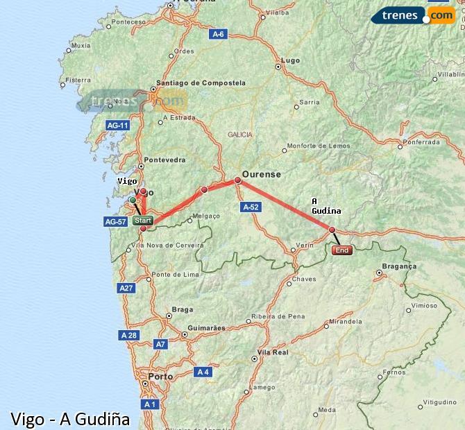 Agrandir la carte Trains Vigo A Gudiña