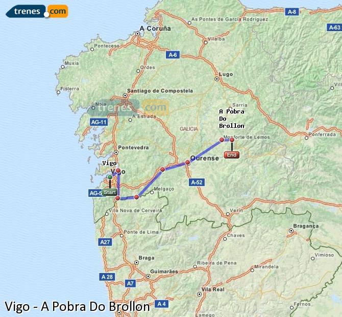 Agrandir la carte Trains Vigo A Pobra Do Brollon
