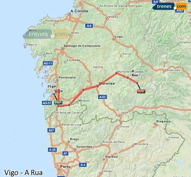 Ampliar mapa Comboios Vigo A Rua