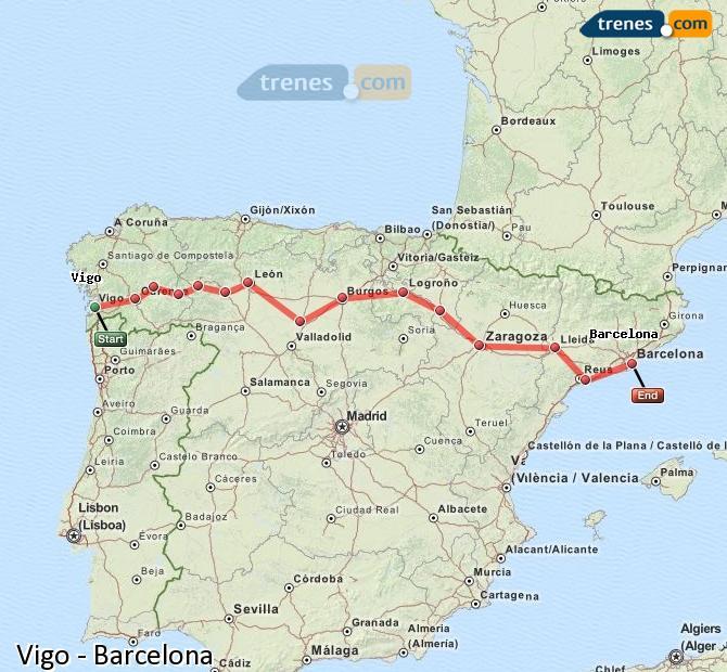 Karte vergrößern Züge Vigo Barcelona