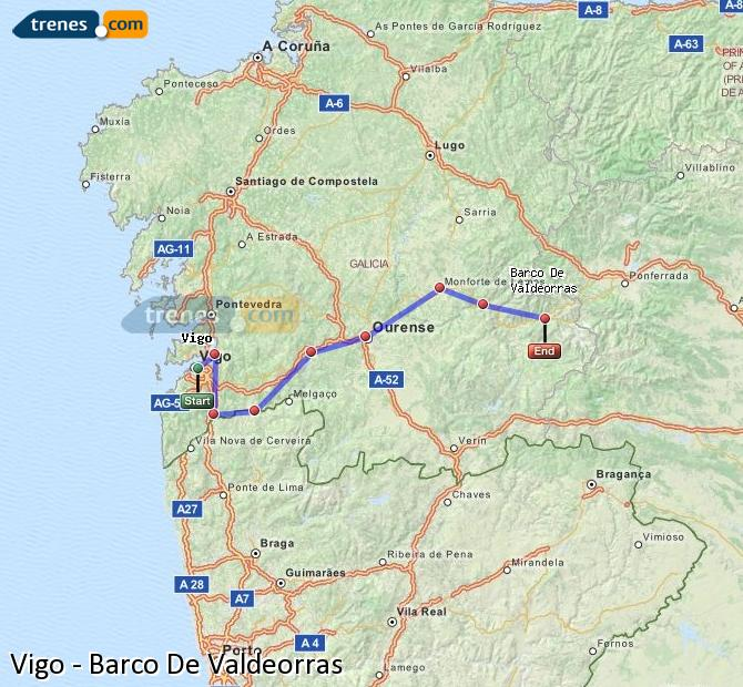 Karte vergrößern Züge Vigo Barco De Valdeorras