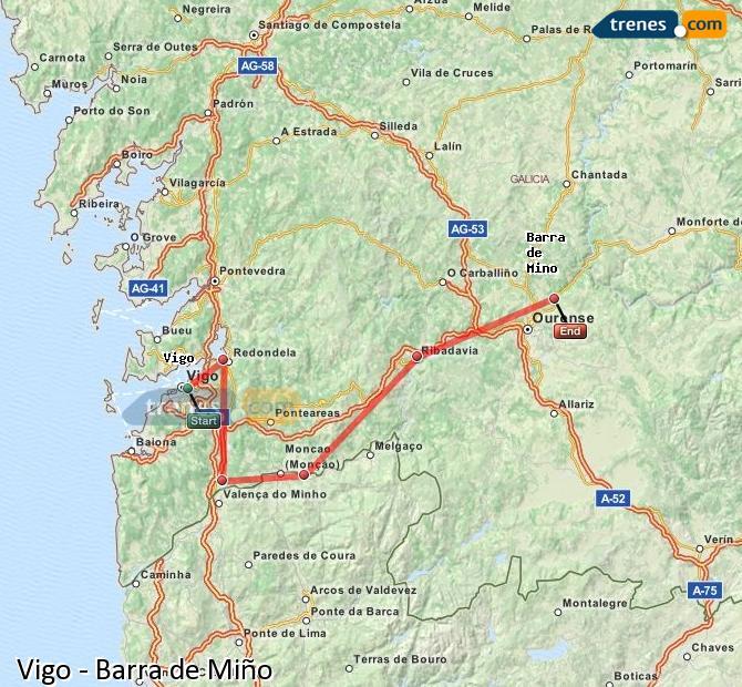 Ampliar mapa Trenes Vigo Barra de Miño