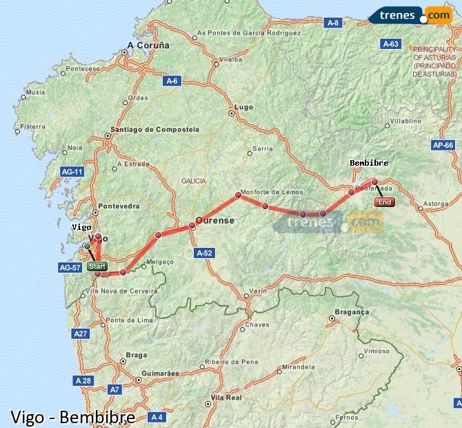 Karte vergrößern Züge Vigo Bembibre