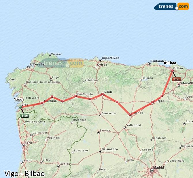 Agrandir la carte Trains Vigo Bilbao