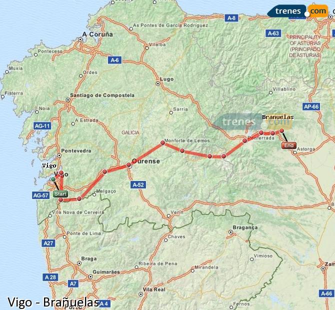 Karte vergrößern Züge Vigo Brañuelas