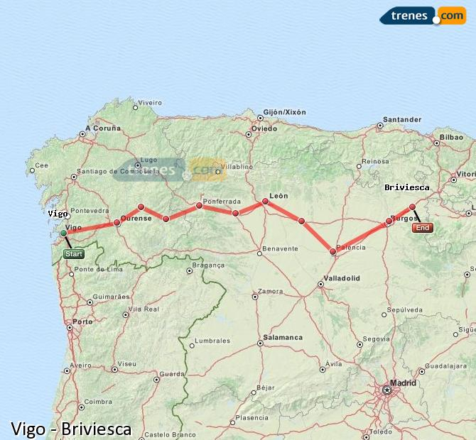 Ingrandisci la mappa Treni Vigo Briviesca