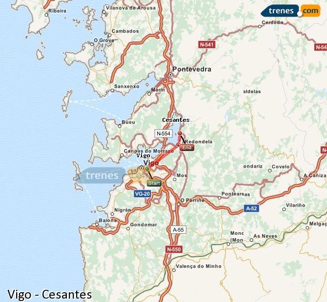 Ampliar mapa Comboios Vigo Cesantes