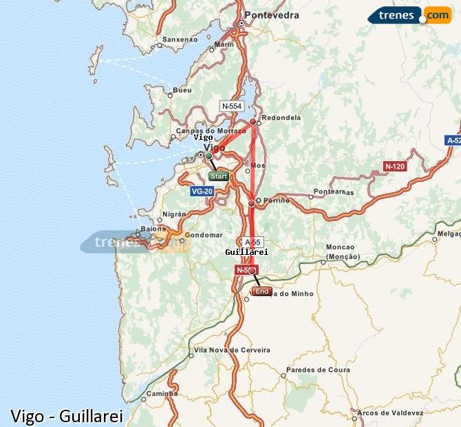 Karte vergrößern Züge Vigo Guillarei