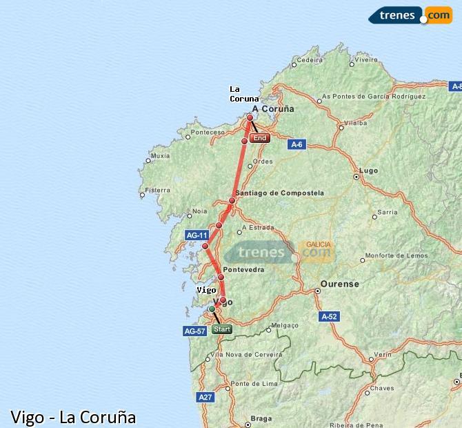 Ampliar mapa Trenes Vigo La Coruña