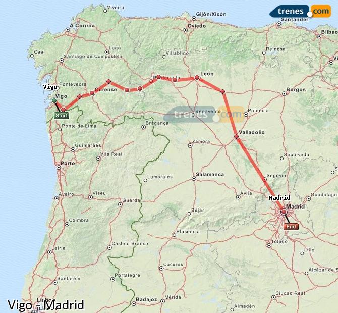 Ampliar mapa Trenes Vigo Madrid